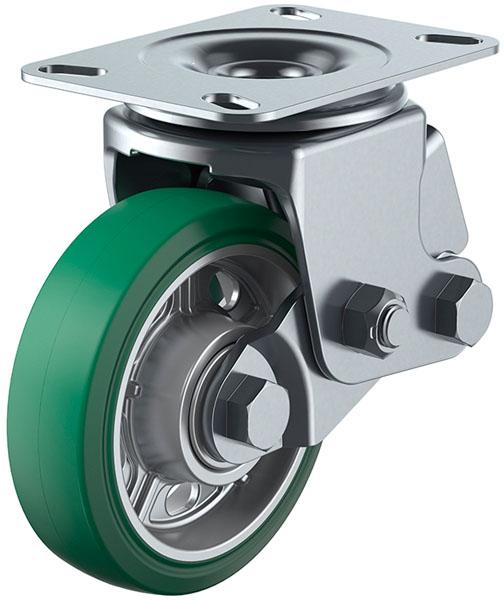 ユーエイキャスター SKY-2S型 自在車 緩衝器付 150mm 耐摩耗緑ゴム ※受注生産品 SKY-2S150AWARGr-A-2