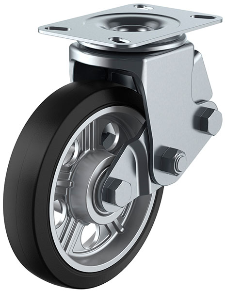 SKY-2S型 自在車 緩衝器付 200mm ゴム ※受注生産品 ユーエイキャスター SKY-2S200AW-A-1