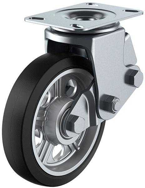 ユーエイキャスター SKY-2S型 自在車 緩衝器付 200mm ゴム ※受注生産品 SKY-2S200AW-A-2