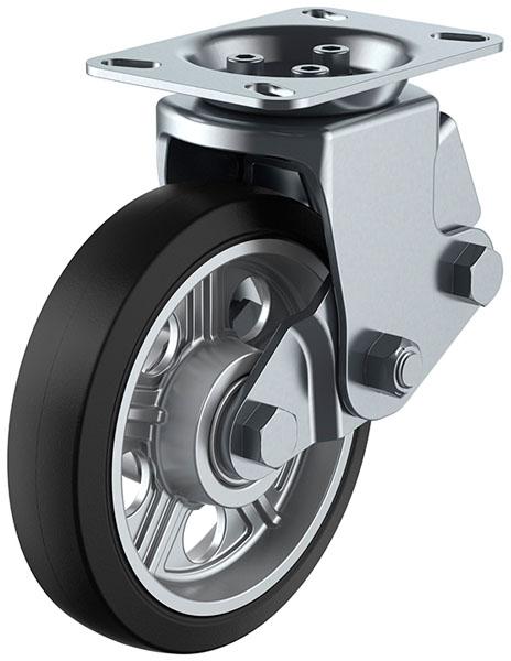 ユーエイキャスター SKY-2R型 固定車 緩衝器付 200mm ゴム ※受注生産品 SKY-2R200AW-B-2