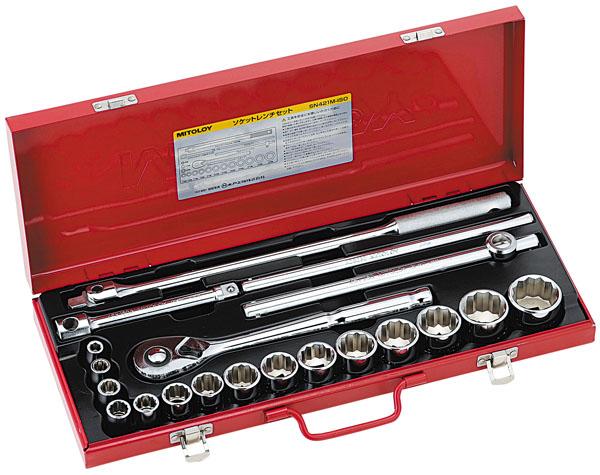 MITOLOY 1/2 ソケットレンチセット スタンダードタイプ メタルケース21点セット ※取寄品 SN421M-ISO