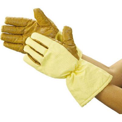 耐熱手袋 ロングタイプ フリー ブラウン/イエロー 1双価格 トラスコ TPG-651