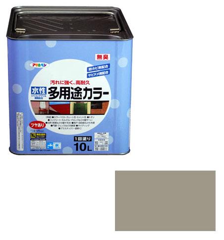 アサヒペン 水性多用途カラー 10L ライトグレー ※取寄品