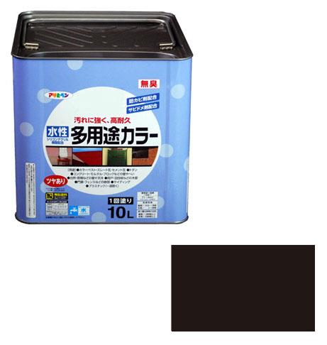 アサヒペン 水性多用途カラー 10L 黒 ※取寄品