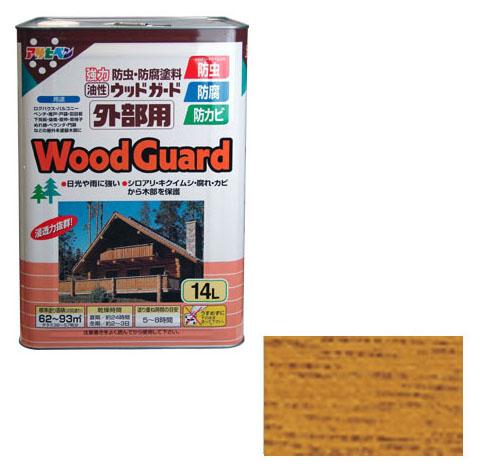 アサヒペン 油性塗料 ウッドガード外部用 14L ライトオーク 取寄品