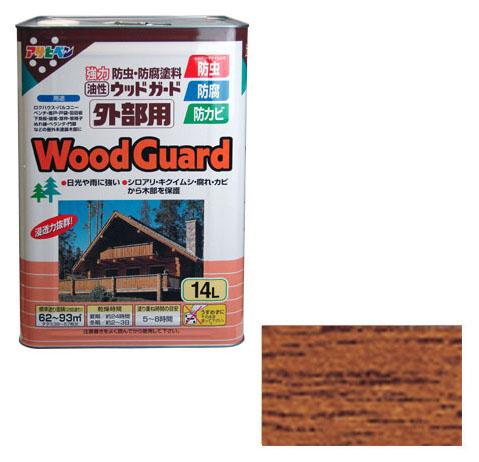アサヒペン 油性塗料 ウッドガード外部用 14L チーク 取寄品