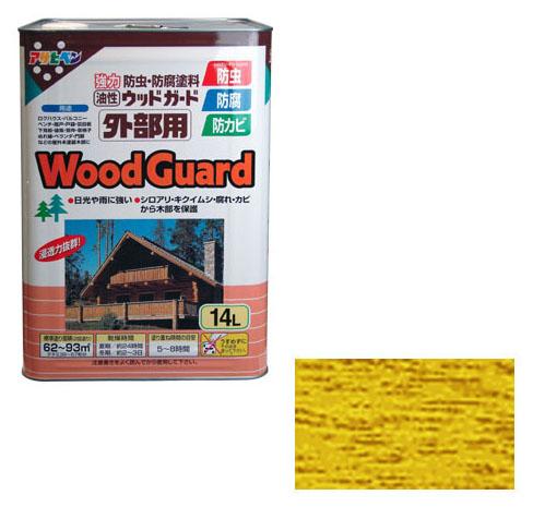 アサヒペン 油性塗料 ウッドガード外部用 14L パイン 取寄品