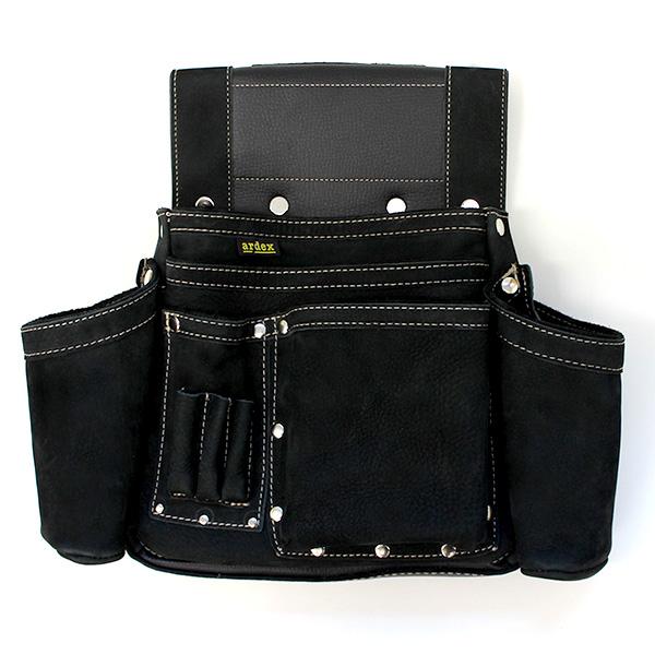 ポイント2倍【送料無料】ARDEX ヌバック釘袋 Wポケット(W墨壷ホルダー仕様) 4型 黒 ARDEX-014W-K