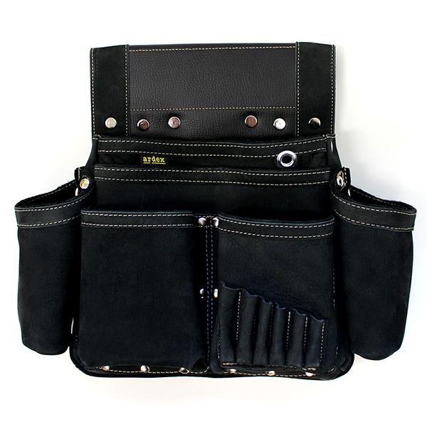 ポイント2倍【送料無料】ARDEX ヌバック釘袋 Wポケット(W墨壷ホルダー仕様) 6型 黒 ARDEX-016W-K