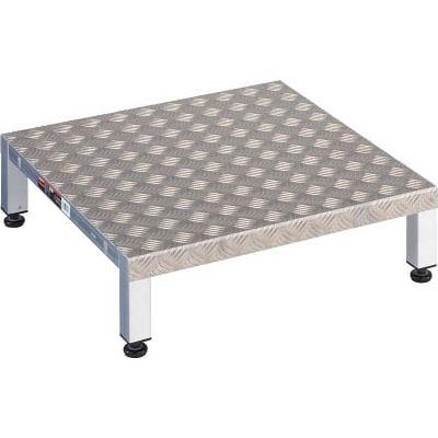トラスコ 高床用アルミ製ステップ(縞板・耐水・耐油)600×600×190~220mm TFSH-0660AL