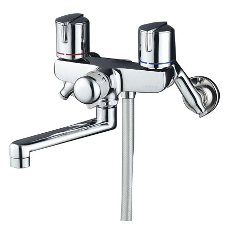 KVK 寒 一時止水付2ハンドルシャワー メタホース 固定こま ※取寄品 KF141GWMB