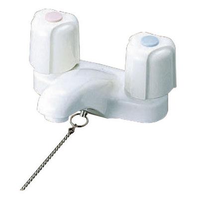 KVK 寒 洗面用2ハンドル混合栓 ゴム栓付き ※取寄品 KM66Z