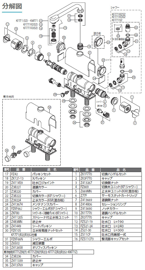KVK 寒 デッキサーモシャワー 取付ピッチ100mm 190mmパイプ ※取寄品 KF771Z