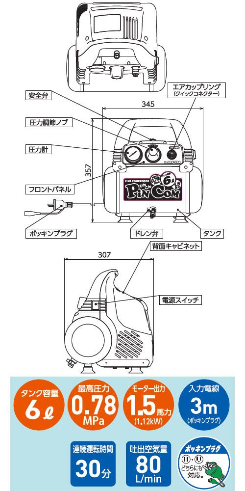 日動 乾式(オイルレス) エアコンプレッサー PiN CoM ぴんこん 取寄品 ACP-786