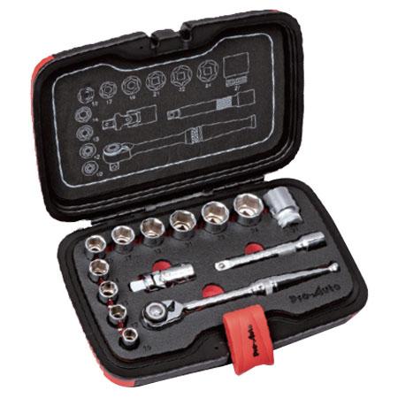 1/2差し込み角 DR 14PC ソケットレンチセット 取寄品 SEK(スエカゲ) PA4014 ( ソケット ユニバーサルジョイントエクステンションバー スマートヘッドラチェット )