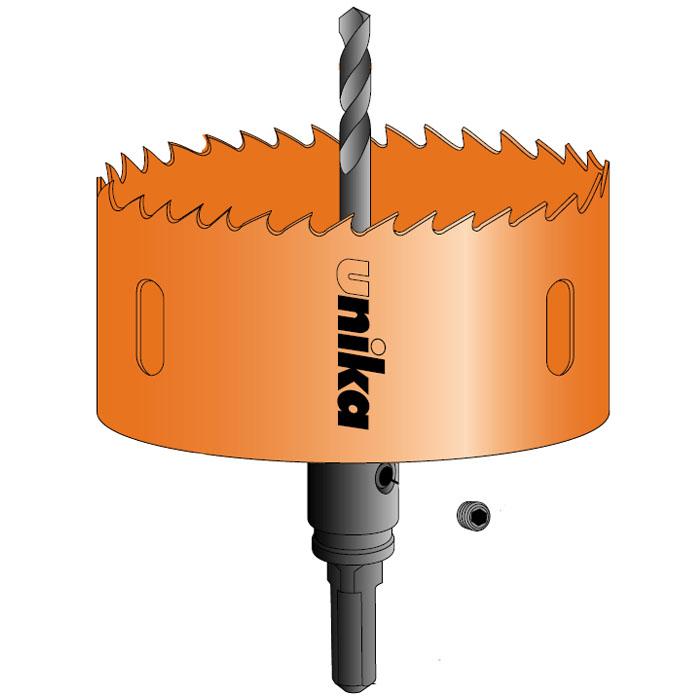 ハイスホールソー ダウンライト用 ストレートシャンク 口径125mm 取寄品 ユニカ HSDL-125ST ( 石こうボード ケイカル板 天井板 合板 塩ビ板 木材 バイメタルハイス ツバ無し ロングセンタードリル 電気ドリル 振動ドリル 充電ドリルドライバ)