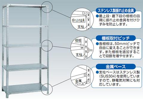 トラスコ SUS304ステンレス軽量棚(4段)890×615×1202【代引不可・メーカー直送品】 SU3-4364