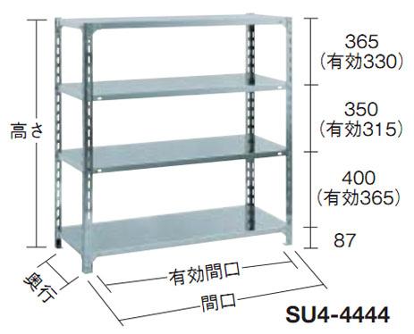 トラスコ SUS430ステンレス軽量棚(4段)1515×465×1202【代引不可・メーカー直送品】 SU4-4544