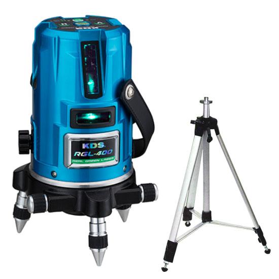 リアルグリーンレーザー400 受光器三脚付 取寄品 KDS RGL-400RSA ( 乾電池 2方向 4方向 青色波長 目に優しい 視認性 スッキリライン コストパフォーマンス たち 2方向 4方向 )