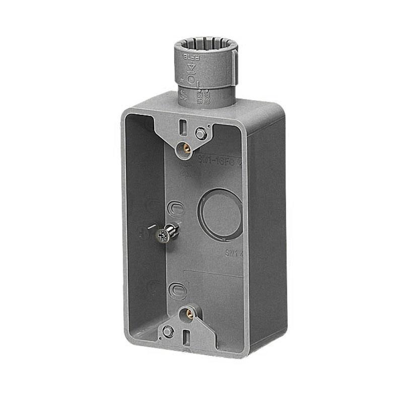 露出スイッチボックス(Gタイプ・1ヶ用・1方出)PF管28用 グレー 20個価格 未来工業 SW1-28FGH