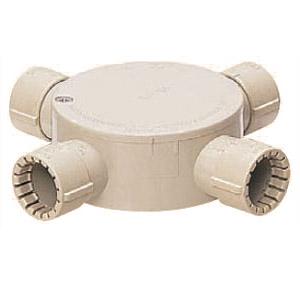 露出用丸形ボックス(Gタイプ・4方出)適合管VE16 ベージュ 20個価格 未来工業 MFSM16-4G