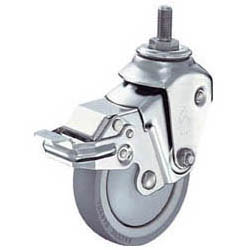 ハンマーキャスター ネジ金具付クッションキャスター(ウレタン車輪・自在式ストッパー付)線径2.3mm 935BEA-BLB100-M12-23