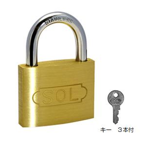 SOL HARD シリンダー南京錠【鍵違い】(ステンロック)35mm(1箱・12個価格)(NO.2500