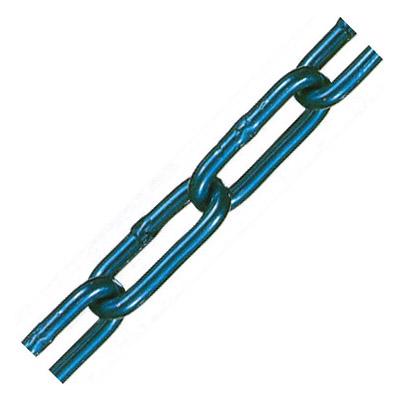 アルミカラーチェーン(ブルー)線径4×内長30×内巾6.5mm 1巻30m価格 水本機械 AL-4CB