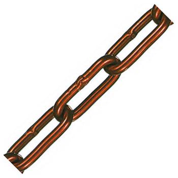 アルミカラーチェーン(レッド)線径4×内長30×内巾6.5mm 1巻30m価格 水本機械 AL-4CR