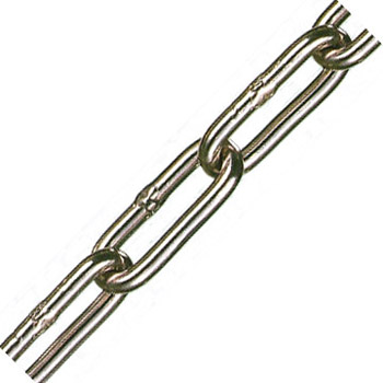 アルミカラーチェーン(ピンク)線径5×内長33×内巾8.5mm 1巻30m価格 水本機械 AL-5CP