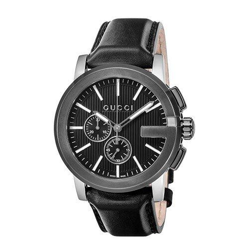 【並行輸入品】[GUCCI] グッチ 腕時計 メンズ YA101205 G-クロノ ブラック 革ベルト