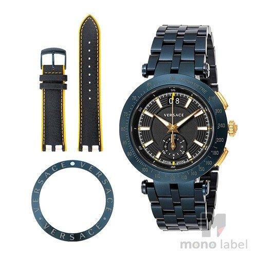 【並行輸入品】[VERSACE] ヴェルサーチ 腕時計 V-レース クロノグラフ 替えベルト・ベゼル付き メンズ VAH050016 ブラック/ネイビー