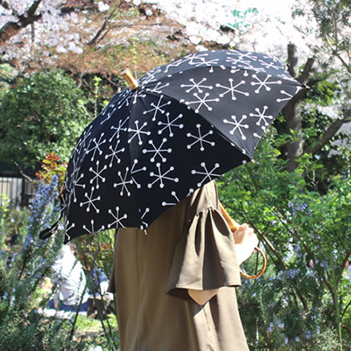 【SUR MER 綿麻キャンバス 結晶柄】シュールメール ファッション 傘 かさ 晴雨兼用 紫外線防止加工■ 送料無料■ あす楽