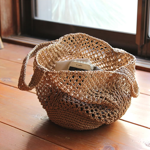 【松野屋 笹編み手提 小】バッグ 鞄 手編み 笹 ネットバッグ ギフト■ あす楽■ ラッピング無料