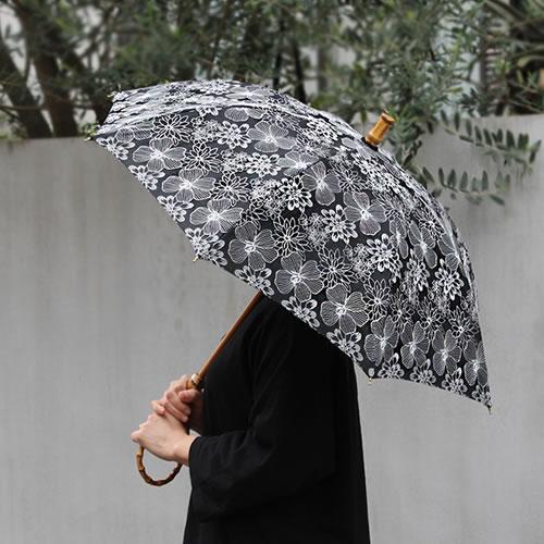 【SUR MER レース柄 長傘 / 折りたたみ傘】シュールメール ファッション 傘 かさ カサ 紫外線防止加工 花柄■ 送料無料