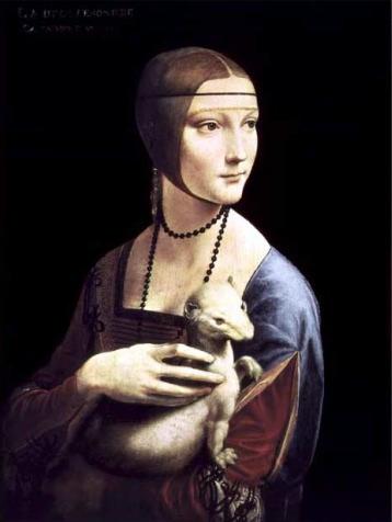 【送料無料】複製名画油絵 ダ・ヴィンチ作「白貂を抱く貴婦人」額装無し 絵画サイズ: 50x60 cm
