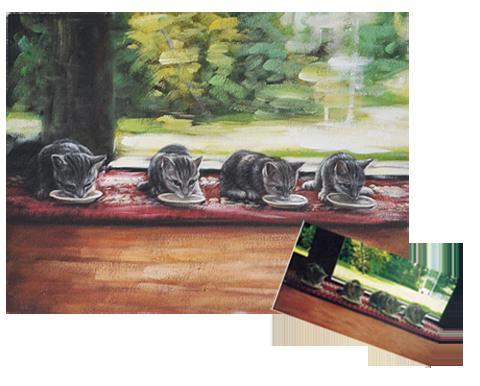 【額装無し】【送料無料】技法が選べるオーダーメイド油絵 ペット四匹 額装無し 絵画サイズ: 50 x 60cm