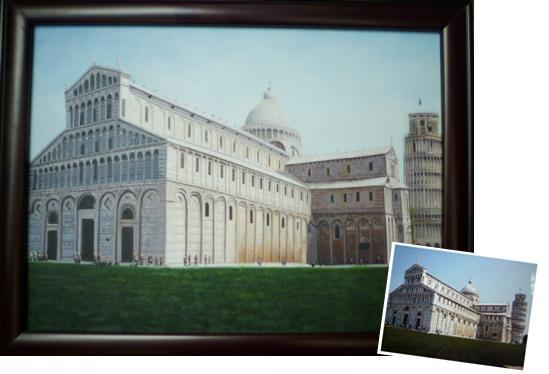 【送料無料】技法が選べるオーダーメイド油絵 風景、建物、車など  額縁付き 絵画サイズ: 20 x 25cm