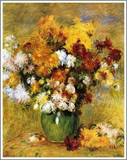 【送料無料】複製名画油絵 ルノワール作「菊の花束」額付き 絵画サイズ: 50x60 cm