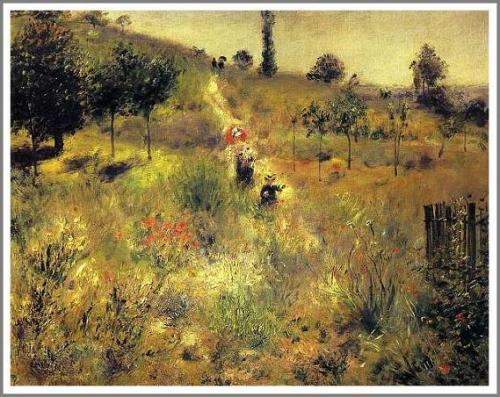 【送料無料】複製名画油絵 ルノワール作「草むらの坂道」額付き 絵画サイズ: 50x60 cm