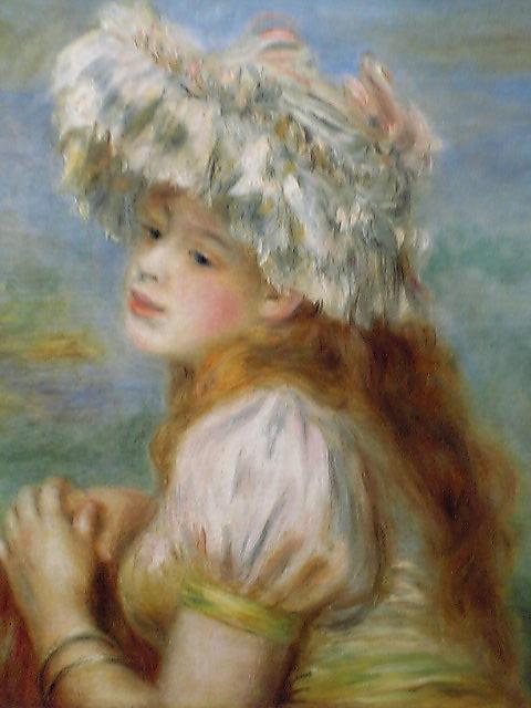 【送料無料】複製名画油絵 ルノワール作「レースの帽子の少女」額付き 絵画サイズ: 50x60 cm