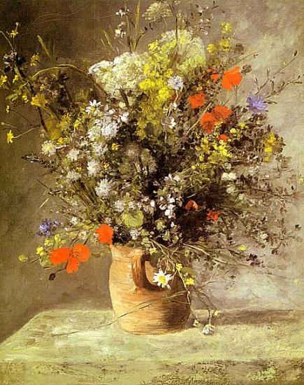 【送料無料】複製名画油絵 ルノワール作「茶色い花瓶の花」額付き 絵画サイズ: 50x60 cm