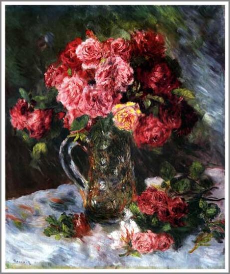 【送料無料】複製名画油絵 ルノワール作「バラ」額付き 絵画サイズ:50x60 cm