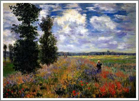 【送料無料】複製名画油絵 モネ作「アルジャントゥイユの野原」 額付き 絵画サイズ: 50x40 cm