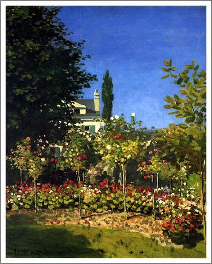 【送料無料】複製名画油絵 モネ作「サンタドレスの花咲く庭」 額付き 絵画サイズ: 30x40 cm