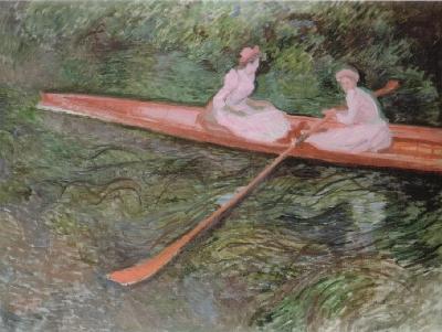 【送料無料】複製名画油絵 モネ作「バラ色のボート」 額付き 絵画サイズ: 30x40 cm
