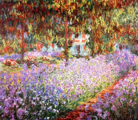 【送料無料】複製名画油絵 モネ作「ジウェルニーのモネの庭」 額付き 絵画サイズ: 30x40 cm