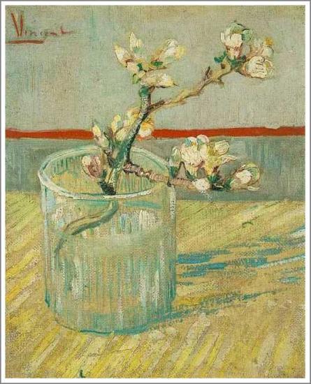 【送料無料】複製名画油絵 ゴッホ作「グラスの中のアーモンドの花」額付き 絵画サイズ: 30x40 cm