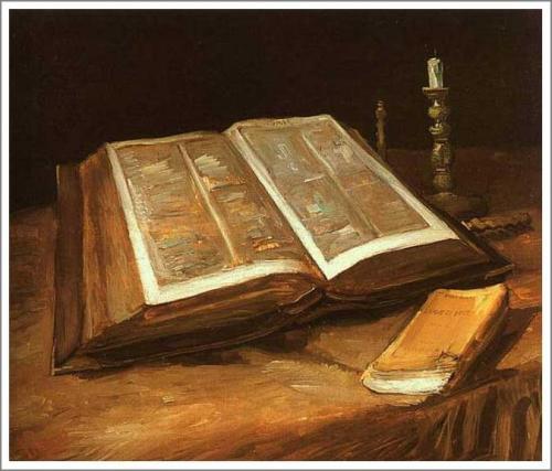 【送料無料】複製名画油絵 ゴッホ作「開かれた聖書のある静物」額付き 絵画サイズ: 30x40 cm