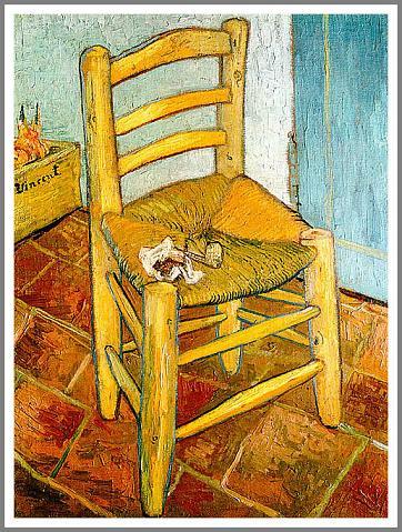 【送料無料】複製名画油絵 ゴッホ作「パイプを置いたゴッホの椅子」額付き 絵画サイズ: 30x40 cm